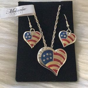 Jewelry - Melanie Heart Shaped American Flag Necklace Set